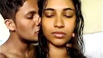 Busty Indian babe gives a blow job and plays with fancy tits