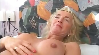 blonde with big tits is getting her hairy pussy touched before her man
