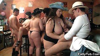 Group orgy in sauna deepthroats fat live