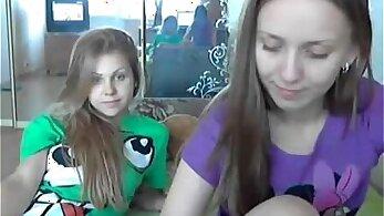 Crazy Teen lesbians play on her live webcam