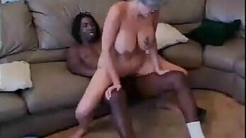 Gentle granny fucked by a black cock