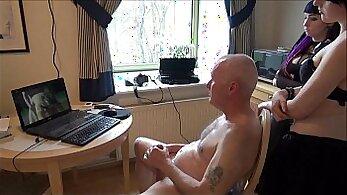 Crossdresser flashing and orgasms before dude