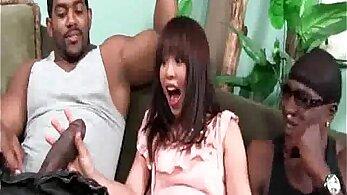 Asian girl enjoying big black dick