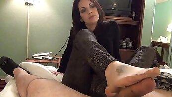 my sexy nylon bouncing footjob