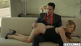 Blonde california first interracial threesome with her boss