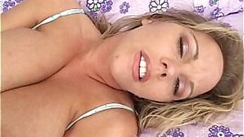 Busty blonde in thong with Dildo slides on TV show