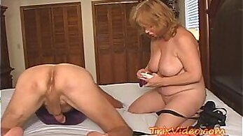 Busty Strapon granny pussy taken on his dick