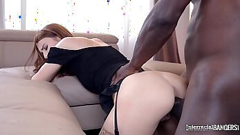 Cum-infused Brunette Teen and Black Interracial Threesome