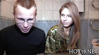 Beautiful red haired tramp gets demented with hammering