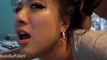 Chinese wife is getting cum on webcam