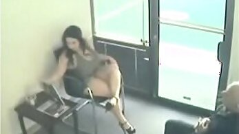 babe with large tits is giving himself a blow job in the office