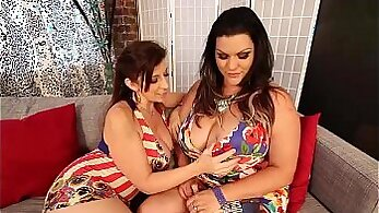 Chubby tanned chick Sara Jay gets fucked doggy in front of a webcam