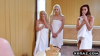 Big Blonde Teens In Stockings Share Dick In Threesome