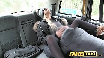 Businesswoman gets an expensive taxi with squeezing cock
